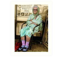 Old Lady in Chair, view 1 Art Print