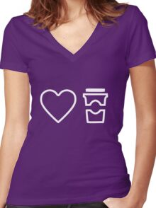 Heart. Coffee Women's Fitted V-Neck T-Shirt