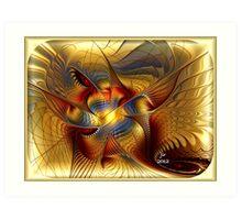 GOLDEN DANCING DRAGON Art Print