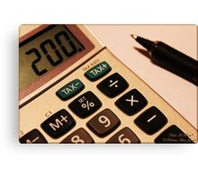 Photography - Calculator With Pen - Color Canvas Print