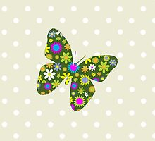 Butterflies Flowers Petals Green Pink Yellow by sitnica
