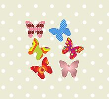 Butterflies Wings Insects Pink Blue Green Red by sitnica