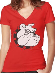 English Bulldog Cartoon Women's Fitted V-Neck T-Shirt