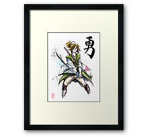 Link from Zelda Sumie style calligraphy COURAGE Framed Print