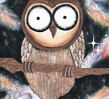 Big, bright eyed owl on galaxy background by jemmypuddleduck
