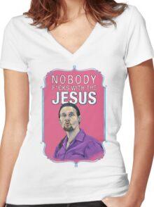 BIG LEBOWSKI-Jesus Quintana- Nobody F*cks with the Jesus Women's Fitted V-Neck T-Shirt