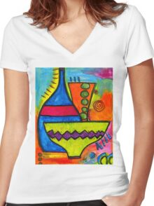 Pottery Women's Fitted V-Neck T-Shirt