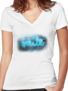 smile :) Women's Fitted V-Neck T-Shirt