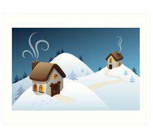 Winter cabin scene Art Print