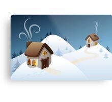 Winter cabin scene Metal Print