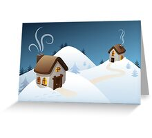 Winter cabin scene Greeting Card