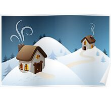 Winter cabin scene Poster