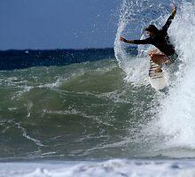 Woman Surfing Snapper Rocks 04.09.2013 by Noel Elliot