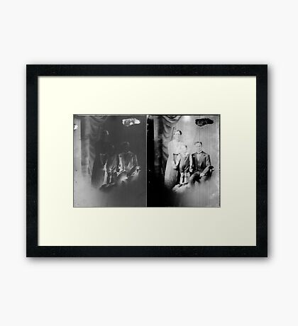 Glass negative family portrait Framed Print