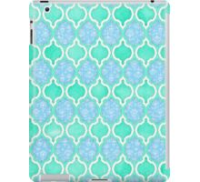 Moroccan Aqua Doodle pattern in mint green, blue & white iPad Case/Skin