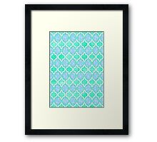 Moroccan Aqua Doodle pattern in mint green, blue & white Framed Print