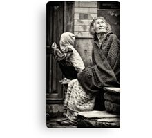 Old woman and child Canvas Print