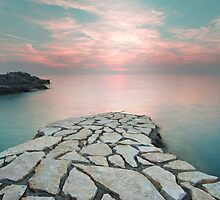 istrian twilight - a sunset landscape with blue and pink tones leading to the Adriatic sea by blueskyjunction