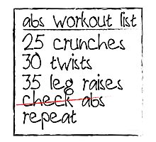 Abs Workout List Photographic Print