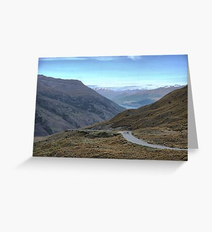 From the Crown Range Road. ( 4 ) Queenstown in the mist. Greeting Card