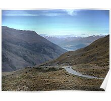 From the Crown Range Road. ( 4 ) Queenstown in the mist. Poster