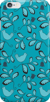 Swirly bird and floral pattern by CClaesonDesign