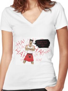 Wolverine in a Kilt Women's Fitted V-Neck T-Shirt