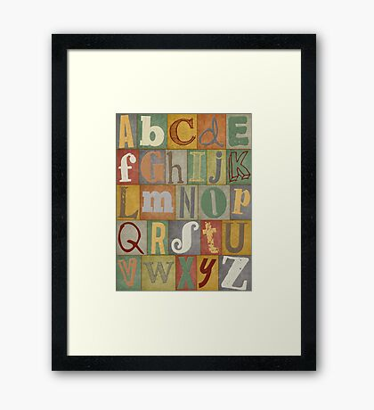 Retro Alphabet Framed Print