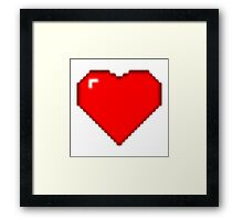 8bit Heart - Old Game Style Heart - Minecraft Heart Framed Print