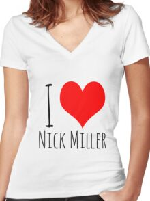 I Love Nick Miller 2 Women's Fitted V-Neck T-Shirt