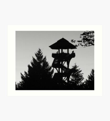 The Lonely Lookout (Black and White) Art Print