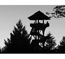 The Lonely Lookout (Black and White) Photographic Print