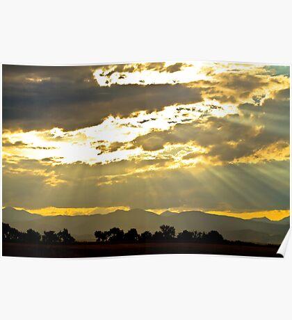 Golden Beams Of Sunlight Shining Down Poster