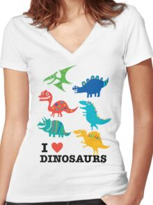 I love dinosaurs Women's Fitted V-Neck T-Shirt