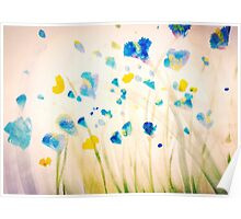 Field of blue flowers Poster