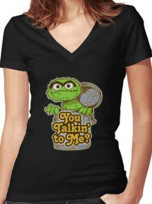 Oscar the grouch Women's Fitted V-Neck T-Shirt