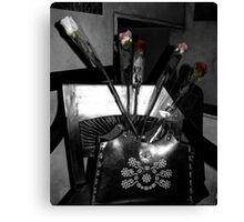 Roses in the Leather Purse Canvas Print