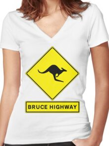 Bruce Highway - Australia's Ocean Road! Women's Fitted V-Neck T-Shirt