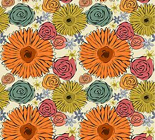 Colorful vintage abstract spring flowers by silvianna