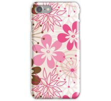 Cute brown and pink abstract spring flowers iPhone Case/Skin