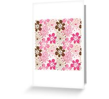 Cute brown and pink abstract spring flowers Greeting Card