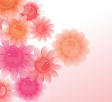 Coral romantic vintage flowers by silvianna