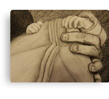 Father and newborn hold hands Canvas Print