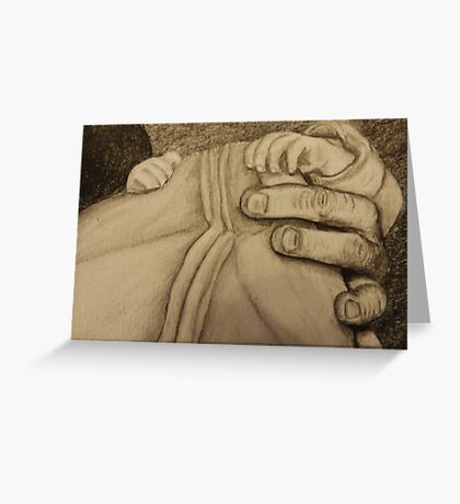 Father and newborn hold hands Greeting Card