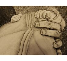 Father and newborn hold hands Photographic Print