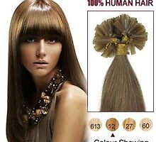 Discount 100S Nail Tip Human Hair Extensions 16 Inch Golden Brown In Stock by tiffanywuok1
