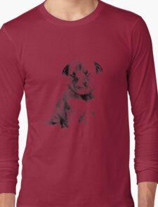 Adorable Husky Dog Puppy Engraving Long Sleeve T-Shirt
