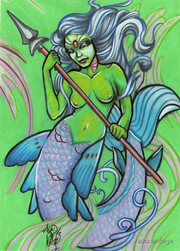 green mermaid by resonanteye