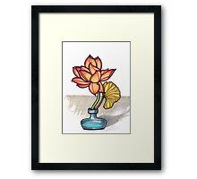 lotus in a glass jar vase Framed Print