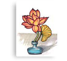 lotus in a glass jar vase Canvas Print